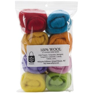 Wool Roving 12in .25 Ounce 8/Pkg-Confetti