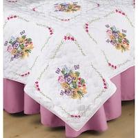 Stamped White Quilt Blocks 18inX18in 6/Pkg-Pansies