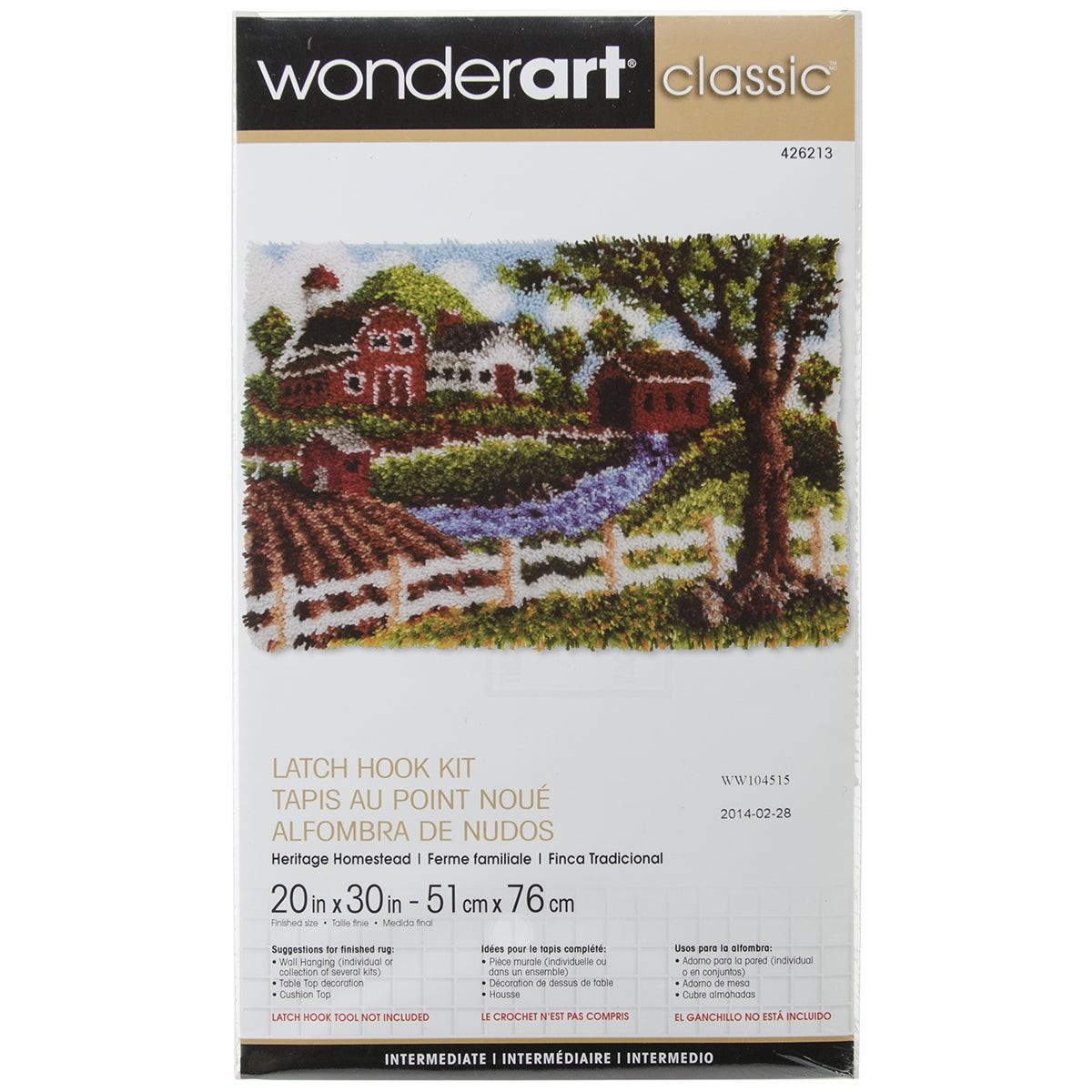 Wonderart Classic Latch Hook Kit 20inX30in-Heritage Homes...