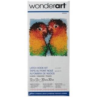 Wonderart Latch Hook Kit 12inX12in-Lovebirds