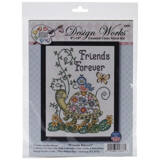 Friends Forever (Turtle) Counted Cross Stitch Kit-8inX10in 14 Count