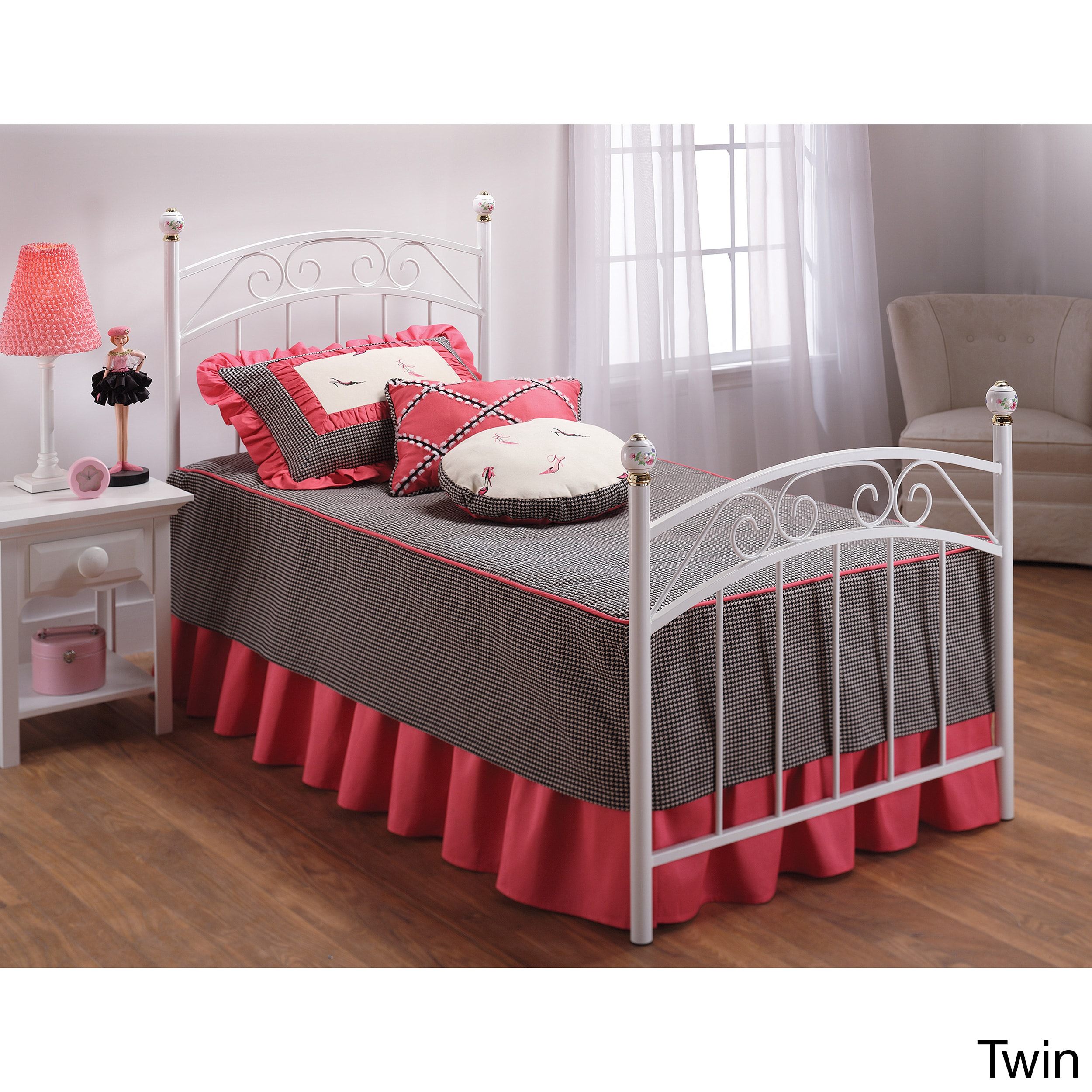 Hillsdale White 'Emily' Scrollwork Bed Set (Twin)