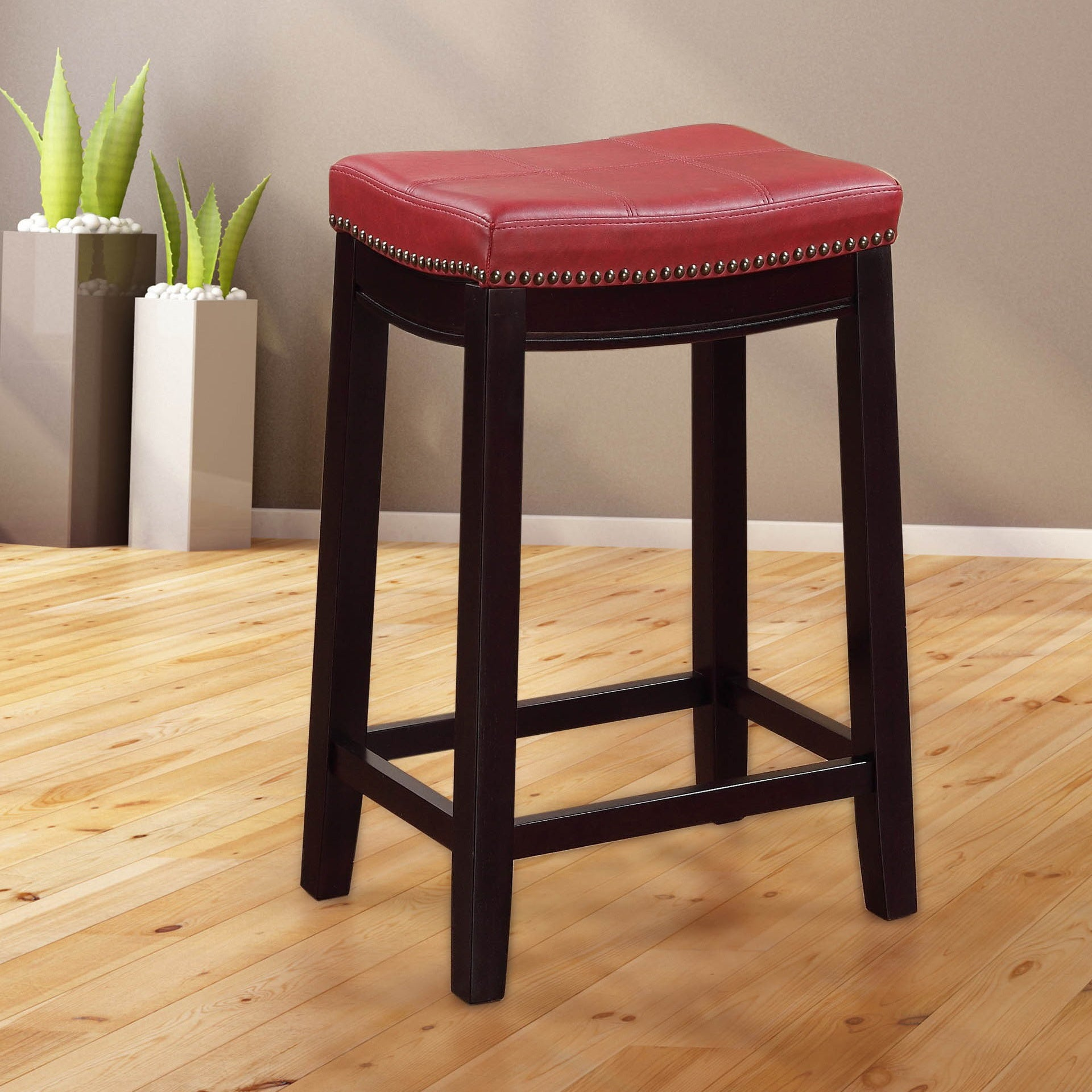 Swell Linon Manhattanesque Backless Counter Stool Red Vinyl Seat Machost Co Dining Chair Design Ideas Machostcouk
