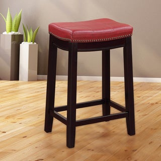 Linon Manhattanesque Backless Counter Stool, Red Vinyl Seat
