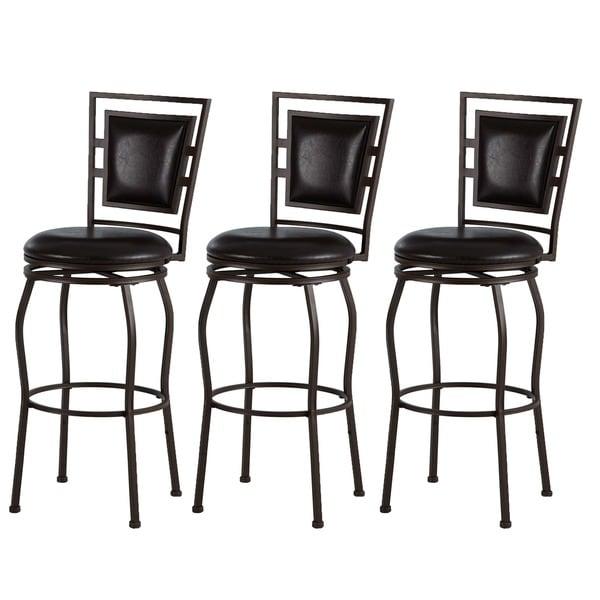 linon adjustable bar stools set of 3 free shipping today 16428182. Black Bedroom Furniture Sets. Home Design Ideas