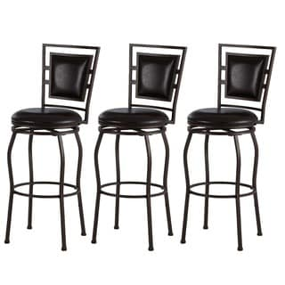 Linon Harold Contemporary Adjustable Stools with Swivel Seat (Set of 3)