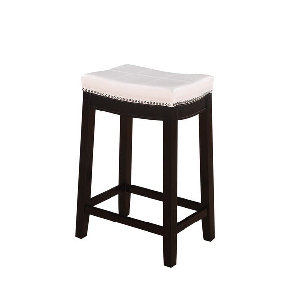 Linon Manhattanesque Backless Counter Stool White Vinyl