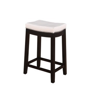 Linon Manhattanesque Backless Counter Stool, White Vinyl Seat