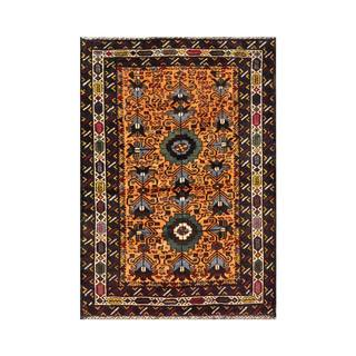 Herat Oriental Afghan Hand-knotted 1960s Semi-antique Tribal Balouchi Wool Rug (2'10 x 4')