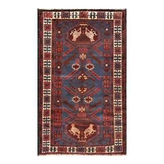 Herat Oriental Semi-antique Afghan Hand-knotted Tribal Balouchi Navy/ Rust Wool Rug (2'10 x 4'7)