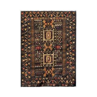 Herat Oriental Afghan Hand-knotted 1960s Semi-antique Tribal Balouchi Wool Rug (3'1 x 4'2)