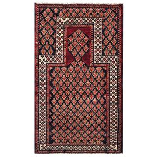 Herat Oriental Semi-antique Afghan Hand-knotted Tribal Balouchi Black/ Red Wool Rug (3'10 x 5'2)