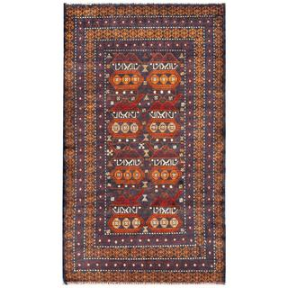 Herat Oriental Semi-antique Afghan Hand-knotted Tribal Balouchi Navy/ Tan Wool Rug (2'9 x 4'10)
