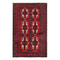 Herat Oriental Afghan Hand-knotted 1960s Semi-antique Tribal Balouchi Wool Rug - 2'11 x 4'6