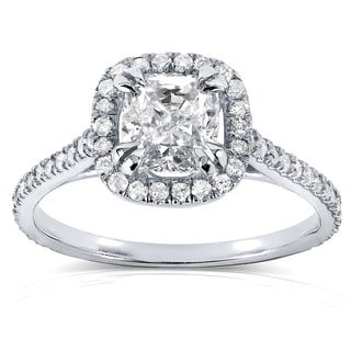 Annello by Kobelli 14k White Gold 1 1/3ct TDW Cushion-cut Diamond Halo Engagement Ring