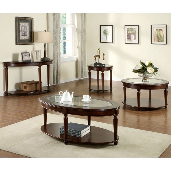 Furniture Of America Crescent Dark Cherry Glass Top Oval Coffee Table    Free Shipping Today   Overstock.com   16427969