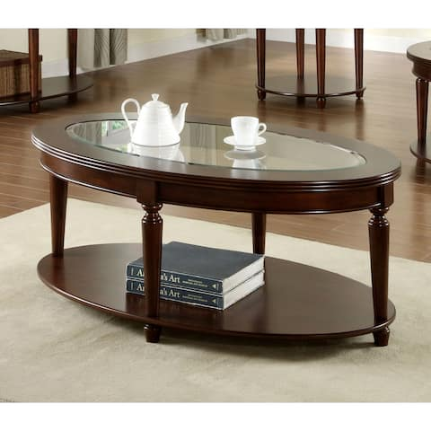 Furniture of America Crescent Dark Cherry Glass Top Oval Coffee Table
