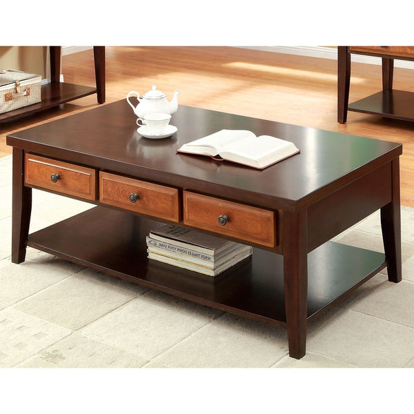 Furniture Of America Berthal Two Tone 3 Drawer Coffee Table
