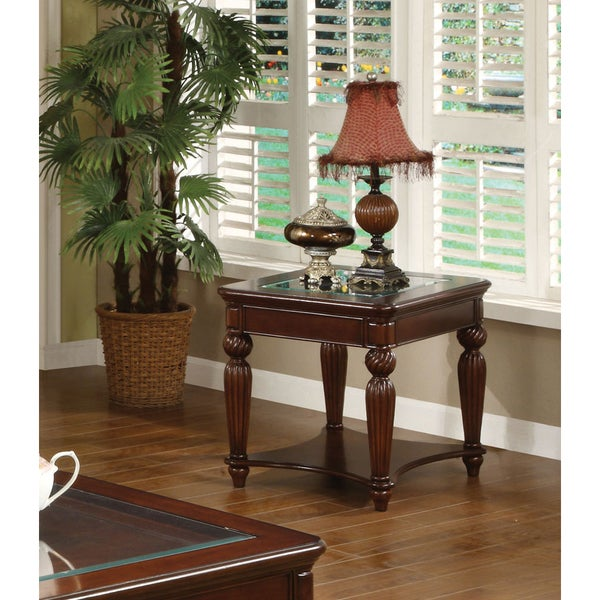 Furniture of America Morgan Beveled Glass End Table