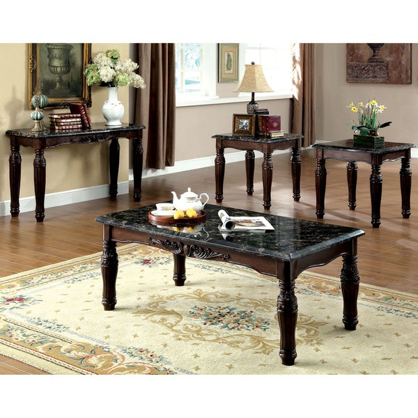 Best Home Furniture Reviews: Shop Furniture Of America Saxton 4-Piece Faux Marble Top