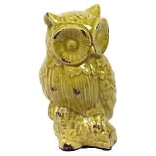 Antique Green Ceramic Owl