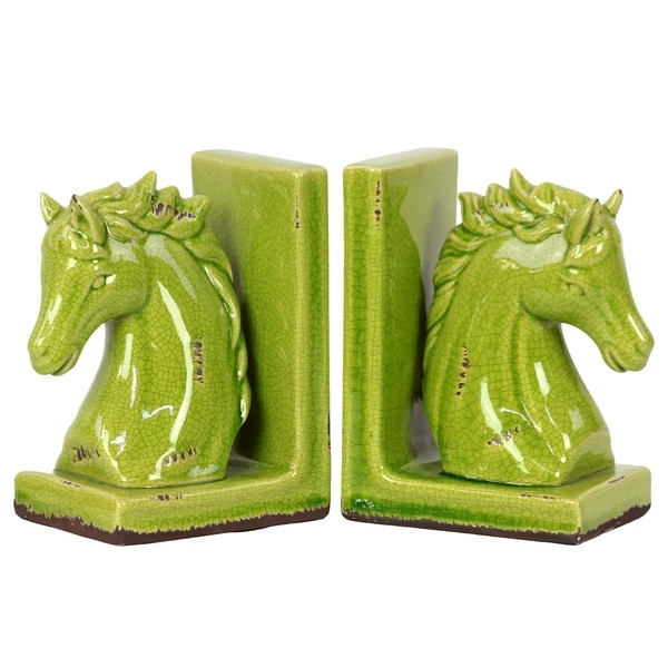 UTC11146: Stoneware Horse Head on Base Bookend Set of Two Distressed Gloss Finish Yellow Green