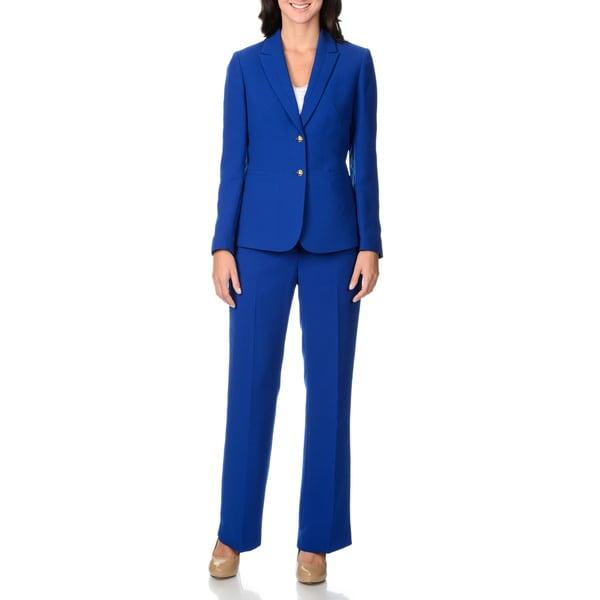 Shop Tahari Women S Solid Royal Blue 2 Piece Pant Suit Free