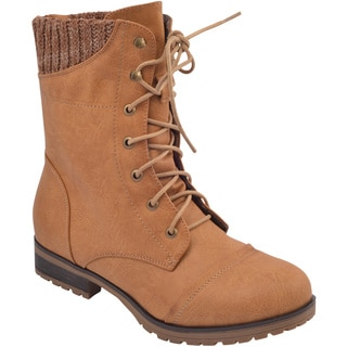 Refresh Women's 'Wynne-06' Ribbed Cuff Mid-Calf Combat Boots