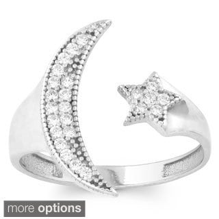 La Preciosa Sterling Silver Moon and Stars Adjustable Ring (Fits Ring Size 6 through 9)