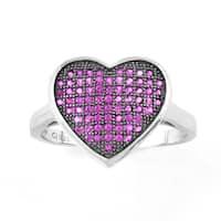 La Preciosa Sterling Silver Pink Micro Pave Cubic Zirconia Heart Ring