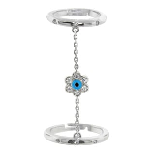 Eternally Haute Sterling Silver Cubic Zirconia Adjustable Flower Charm Finger Ring