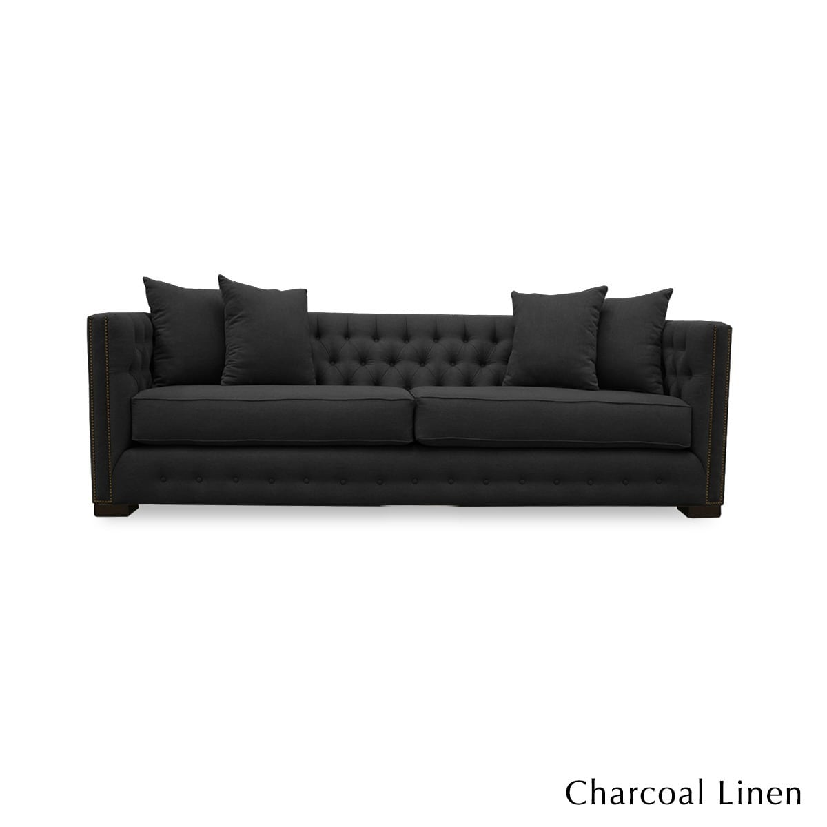 South Cone Home Marsell Premium Linen Tufted Sofa (Charco...