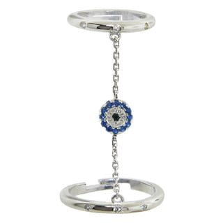 Eternally Haute Sterling Silver Cubic Zirconia Adjustable Evil Eye Charm Double Ring Finger Chain