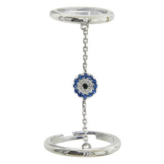 Eternally Haute Sterling Silver Cubic Zirconia Evil Eye Charm Adjustable Chained Double Ring