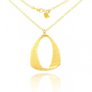 Belcho 14k Yellow Gold Overlay Textured Hammered Twisted Arch Pendant Necklace