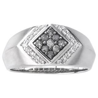 SilverMist Sterling Silver 1/2ct TDW Grey and White Diamond Men's Ring By Ever One (H-I, I2-I3)