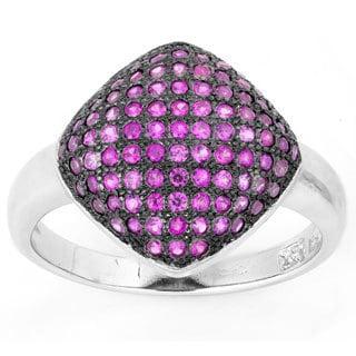 La Preciosa Sterling Silver Pink Micro Pave Cubic Zirconia Puffed Square Ring