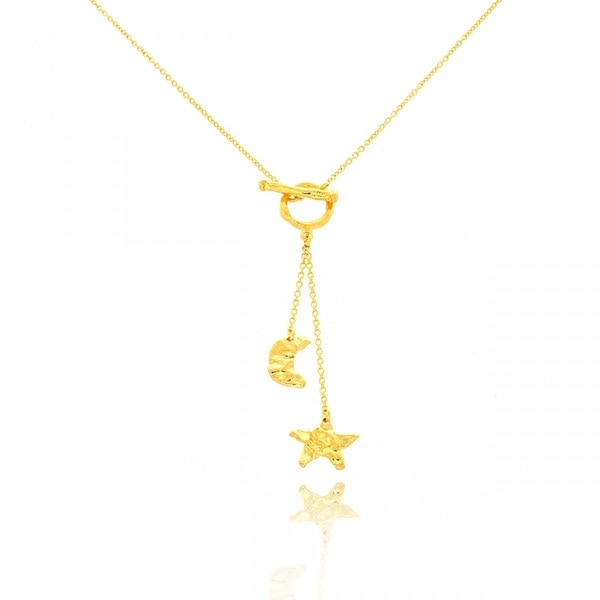 Belcho 14k Yellow Gold Overlay Moon and Stars Toggle Necklace