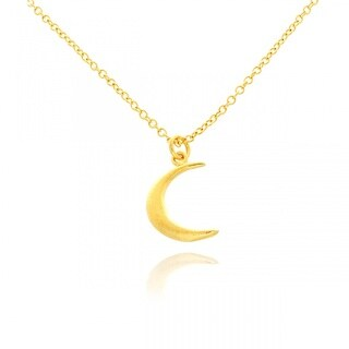 Belcho 14k Yellow Gold Overlay Small Moon Pendant Necklace