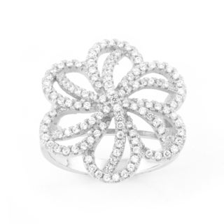 La Preciosa Sterling Silver Micro Pave Cubic Zirconia Large Flower Ring