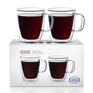 Epare Insulated Coffee Cups Set of 2 - 12oz Double Wall Tumbler Cups