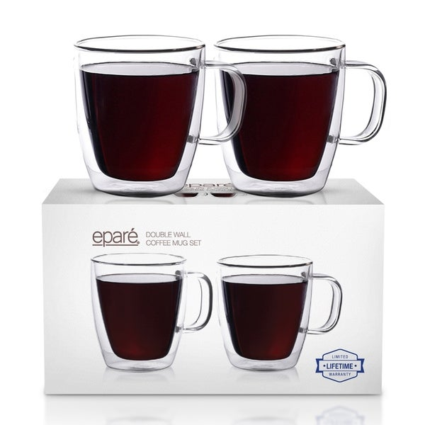 Epare Insulated Coffee Cups Set of 2 - 12oz Double Wall Tumbler Cups. Opens flyout.