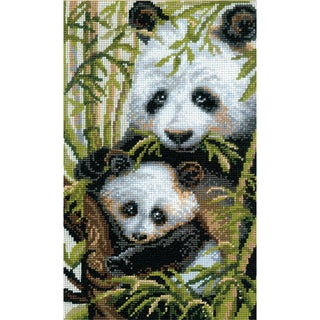 "Panda With Young Counted Cross Stitch Kit-8.75""X15"" 10 Count"