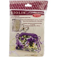 "Pansy Pincushion Counted Cross Stitch Kit-4.25""X3.25"" 14 Count"