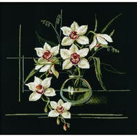 """White Orchid Counted Cross Stitch Kit-15.75""""X15.75"""" 15 Count"""