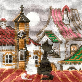 """City & Cats Spring Counted Cross Stitch Kit-5""""X5"""" 16 Count"""
