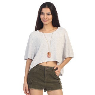 Hadari Women's Contemporary Juniors Grey High-Low Sweater