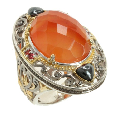 Michael Valitutti Tri-color Carnelian, Hematite and Orange Sapphire Ring