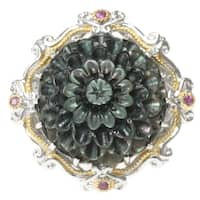Michael Valitutti Two-tone Carved Tahitian Shell, Rhodolite and Pink Sapphire 'Flower' Ring