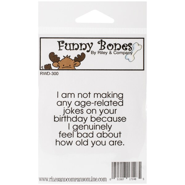 """Riley & Company Funny Bones Cling Mounted Stamp 2.25""""X1.75""""-Age-Related Jokes. Opens flyout."""
